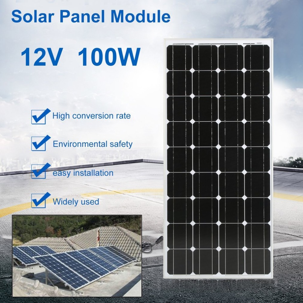 Monocrystalline 100W Solar Power System Module Solar Panel 12V Battery Charging For Off Grid RV Boat Motorhome NEW