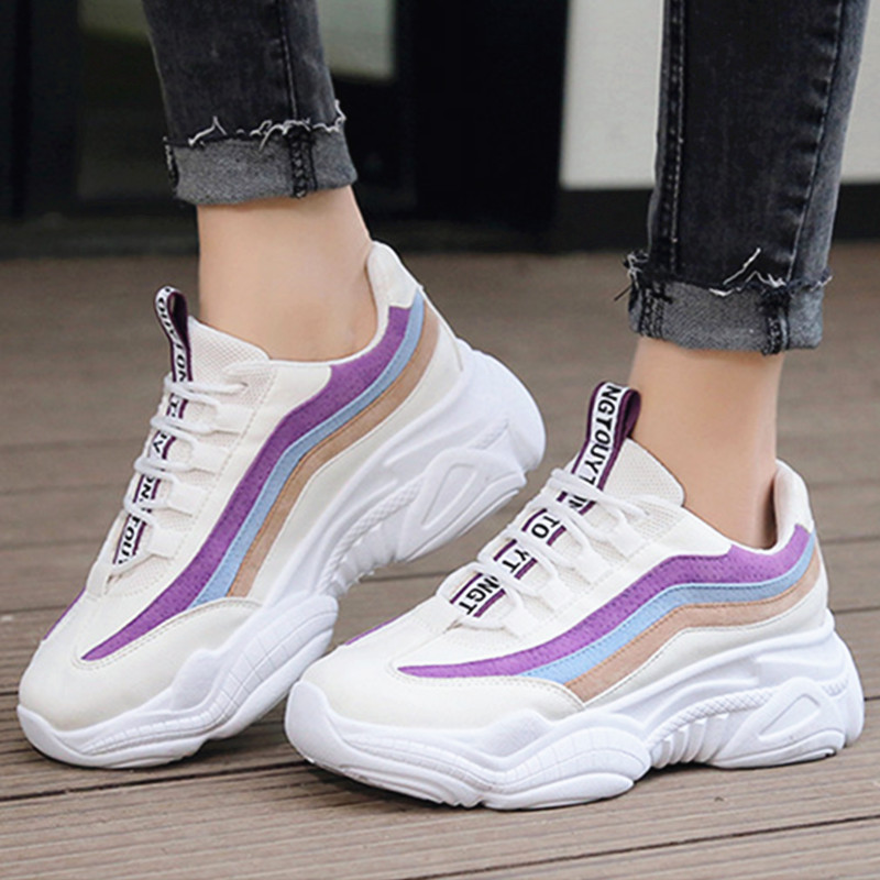 Women Casual Shoes Mesh PU Leather Lace-up White Black Flats Platform Sneakers Breathable Autum Shoes Women Wedge Sneakers F10W