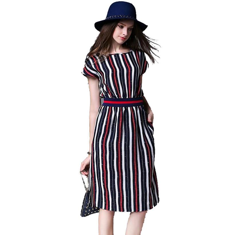 Europa stripe long summer dress dress vestidos mujer 2017 ucrania trabajo de ofi