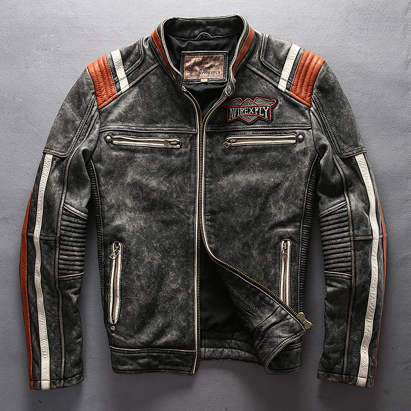 HTB1Avb8aPzuK1RjSspeq6ziHVXaP 2019 Men Motorcycle Rider Jacket Genuine Leather Vintage Coat Stand Collar Embroidery Cowhide Leather Jacket DHL Free Shipping