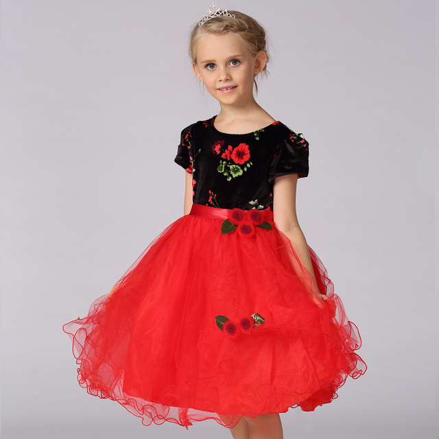 eec660e96f9 Retail 2017 Girl Infant Floral Print Flower Girl Dress With Tulle Gowns  Custom Made Kids Girl