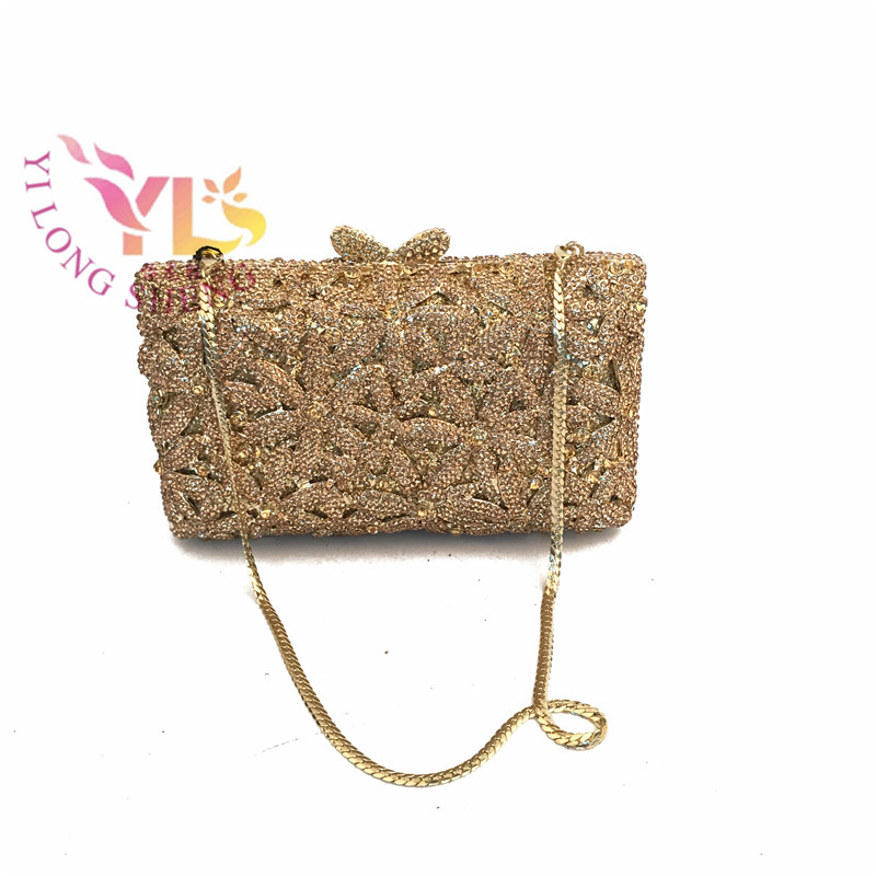 Vintage Clutch Evening Bags Women Sun Flower Design 4 Colors Metal Evening Clutches filled with Diamonds And HK Crystals YLS-F51 elegant women s evening bag with metal and solid color design page 6