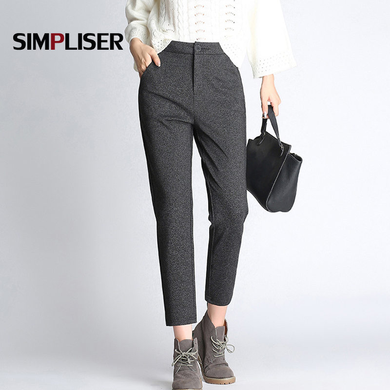 Woman Suit Harem Pants Winter Autumn 2018 High Quality Female Office Work Trousers Balck Grey Femme Pantalon Business Suit Pants
