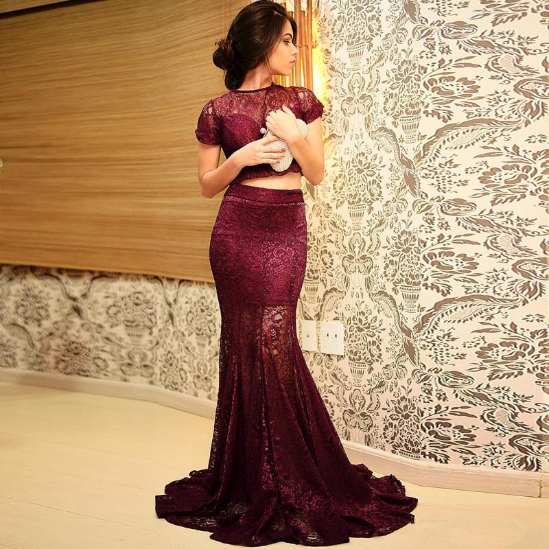 Sexy Two Piece Set   Prom     Dress   Short Sleeve Lace Sheer Mermaid Floor Length Party Gown Custom Made