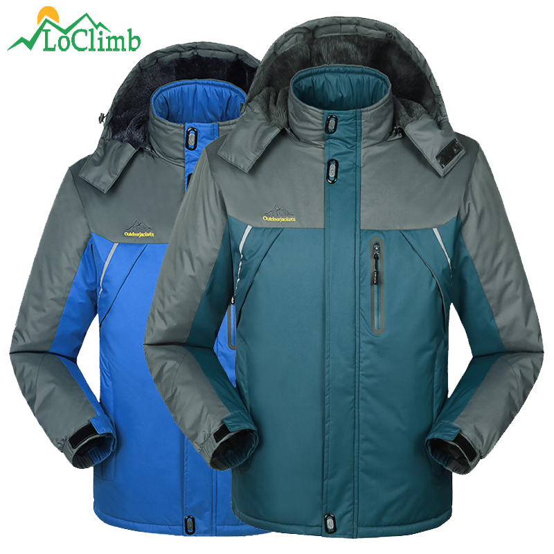 LoClimb M-9XL Plus Size Ski Jacket Men Winter Warm Outdoor Fleece Coat Camping Hiking Sport Windbreaker Waterproof Jackets,AM194 drmundo hiking jacket men plus size windbreaker waterproof ski outdoor rain jacket mountaineering fleece jacket lengthened