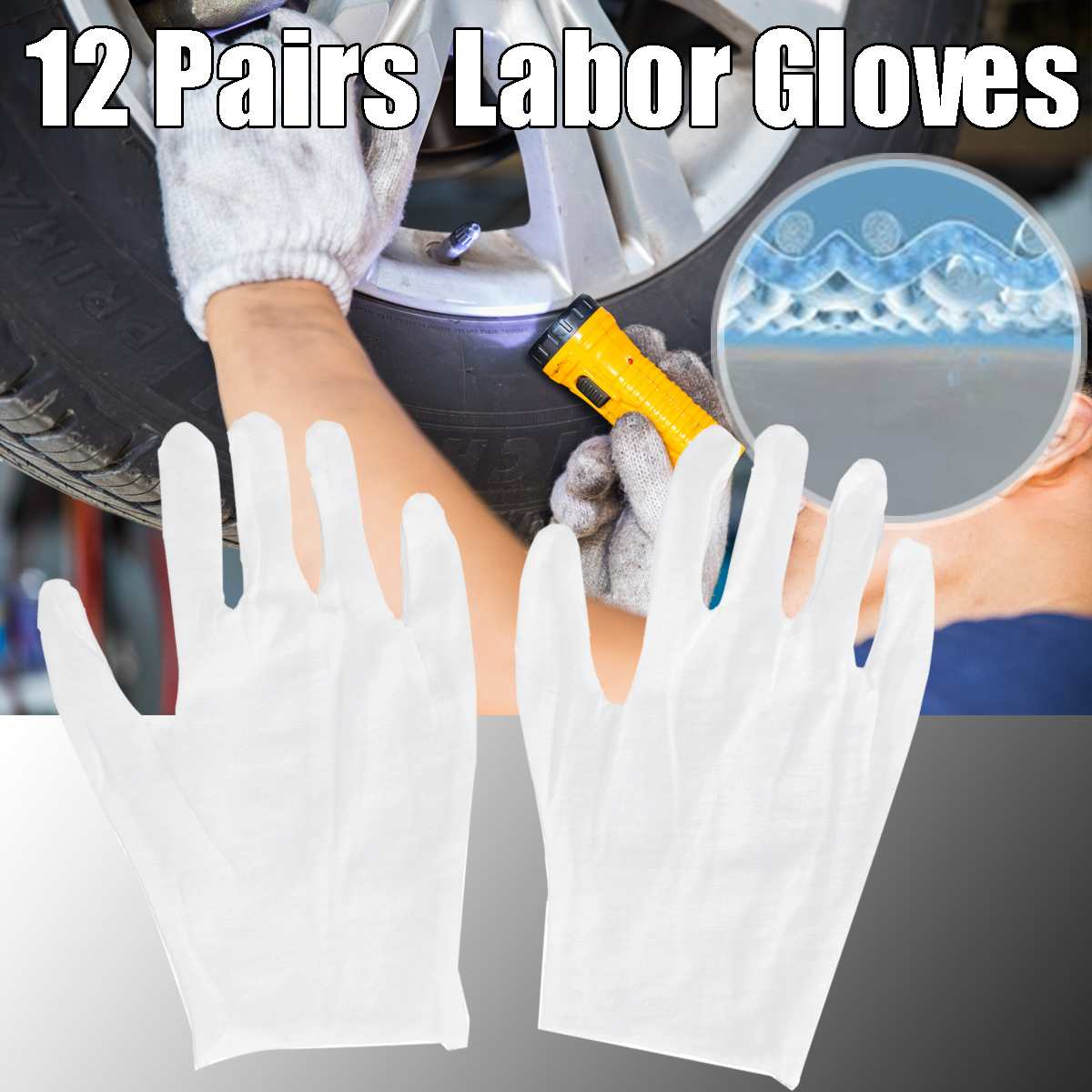12 Pair Full Finger Gloves Cotton White Gloves Free Size Men Women Waiters Jewelry DIY Workers Non-slip Gloves Hands Protector