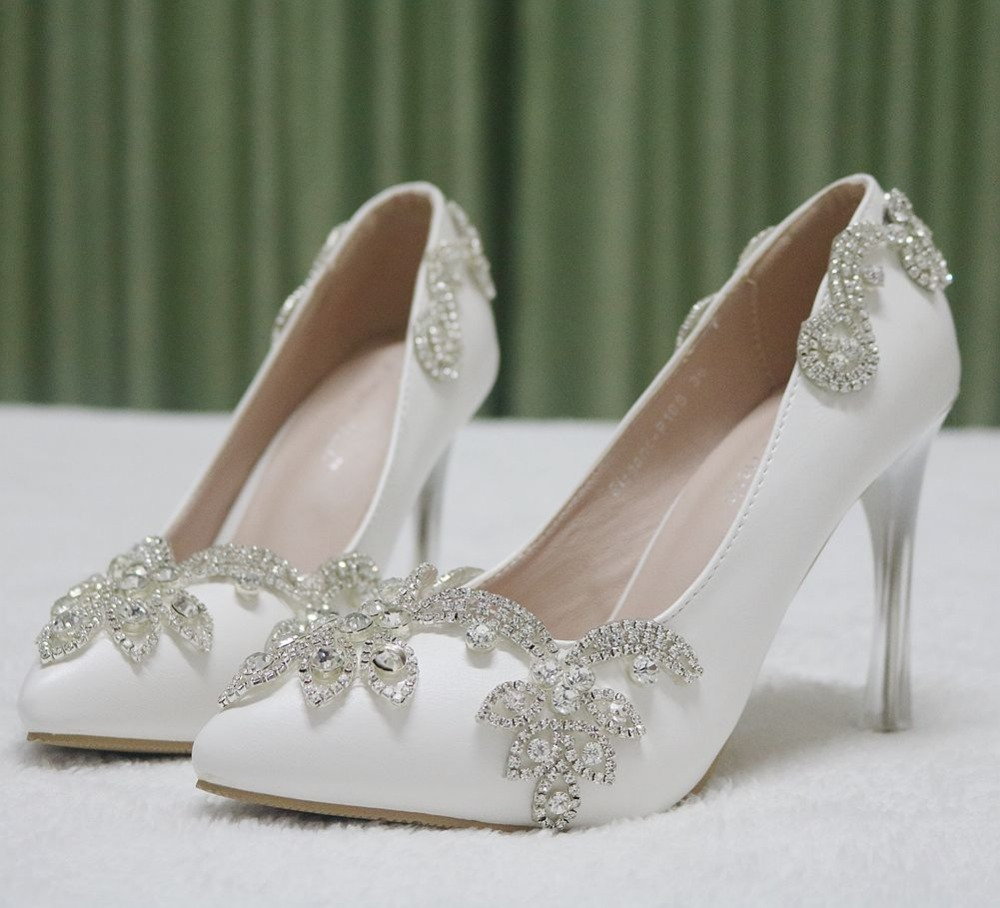 Invisible platform pointed toe pumps rhinestone heels for women thin high  heels pointed toe shoes wedding party heels women-in Women s Pumps from  Shoes on ... ae4fa7a611ab