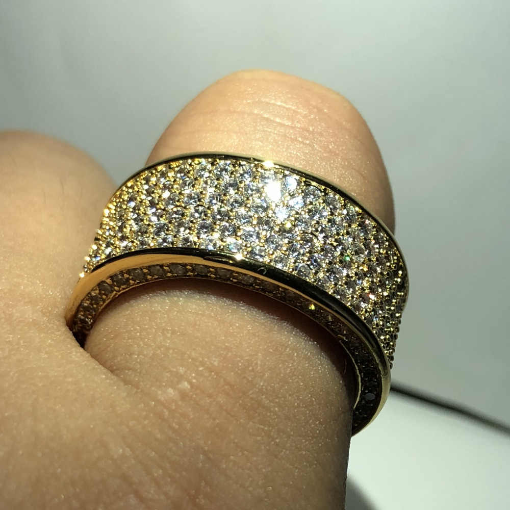 Gioielli di lusso Paragrafo 925 Gioiello di pietra Anelli di Barretta D'argento Brillante 320 pz CZ Pieno Diamant Anello In Oro per le Donne Degli Uomini