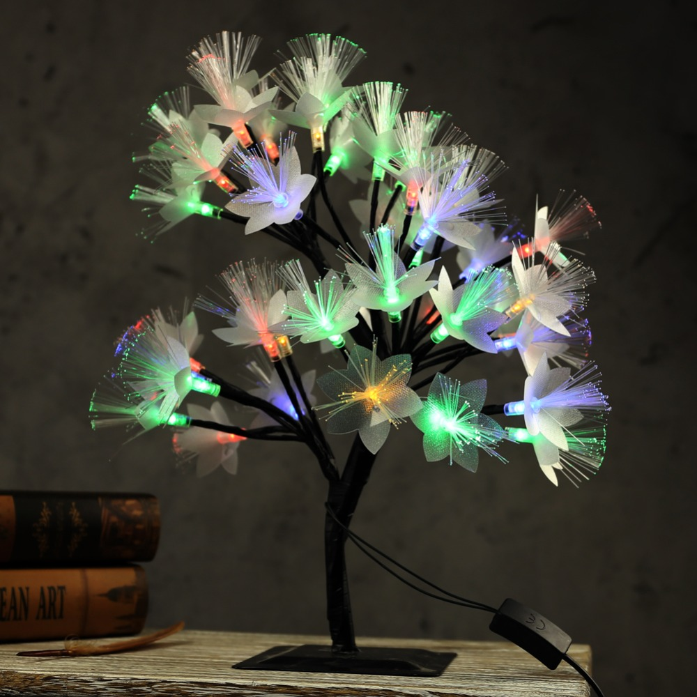 LED Optical Fiber Bedside Night Light New Year Christmas Garland Desk Table Lamp Wedding Gift for Baby Luminaria Indoor Decor icoco usb rechargeable led magnetic foldable wooden book lamp night light desk lamp for christmas gift home decor s m l size