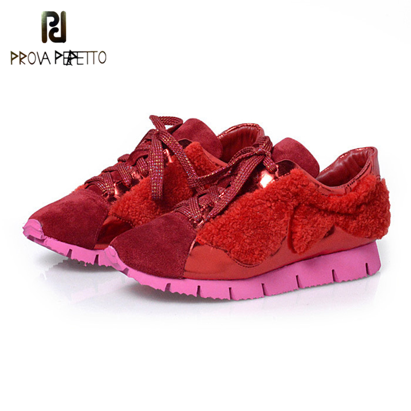 Prova Perfetto 2017 Winter Newest Styles Genuine Leather With Real Wool Fur Flat Casual Shoes Fashion Lace-Up Thick Bottom Shoes prova perfetto bling bling diamond women casual shoes lace up rhinestone sequine sneakers shoes thick bottom fashion girl shoes