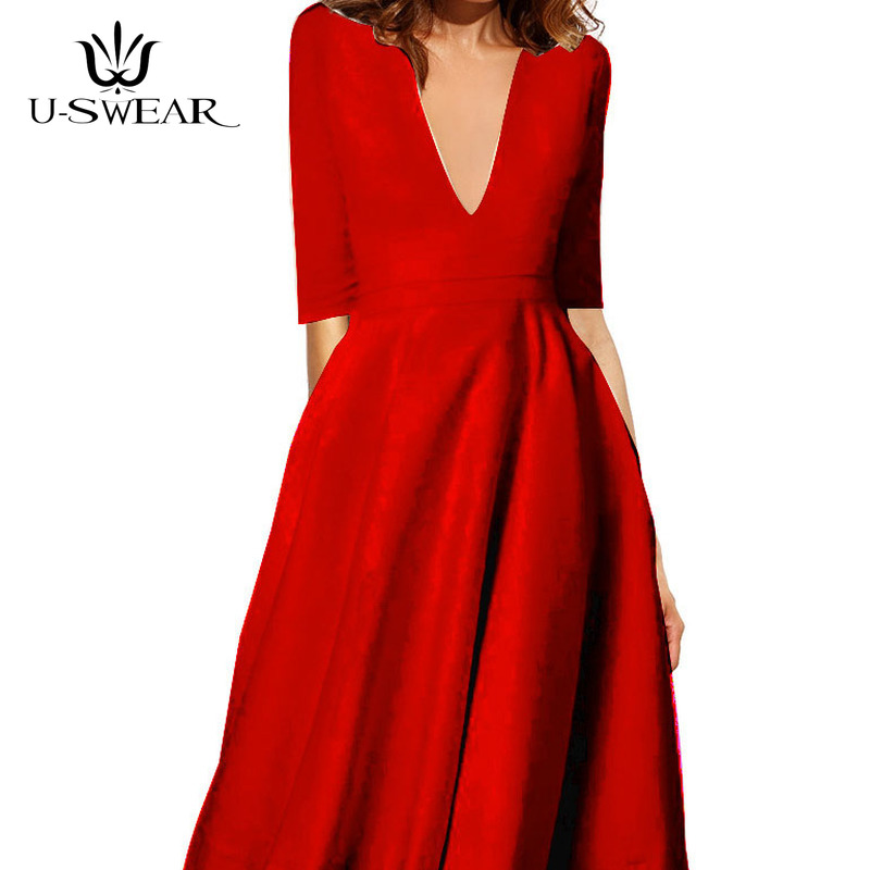 U-SWEAR 2019 New Arrival Women Fashion Sexy Deep V-Neck Half Sleeve Simple   Evening     Dresses   Party Prom Formal Gowns Vestidos