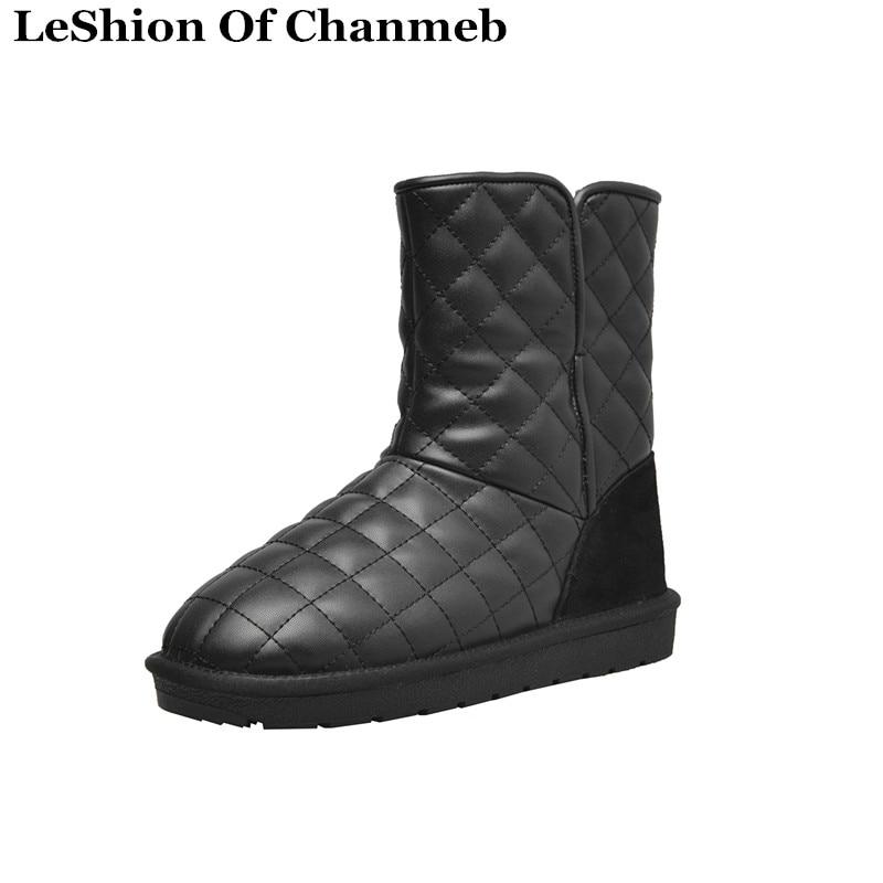 34 De Térmica Frío calf 2019 Gruesa Nieve Snow Plegable white Mujer Botas Zapatos Black Tamaño Invierno Mid Acolchado Boots Boots Lana 43 pqpdF