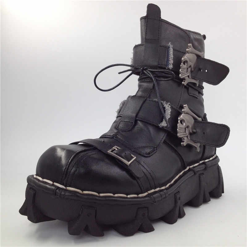 bf632def910 ... Size 38~49 Genuine Leather Man Booties Black Brown Ankle Boots Punk  Style Male Boots ...