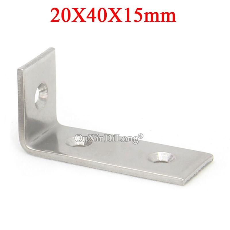 100 PCS Chaves de Canto Móveis de Aço Inoxidável de 90 Graus em Forma de L Placa de Suporte Titular Suportes Móveis Conectores 20X40X15mm