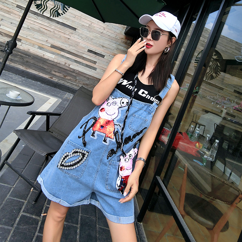 Hip-hop popular logo pig cartoon denim straps ladies shorts female in the summer of 2018 new students easy ins over the fire