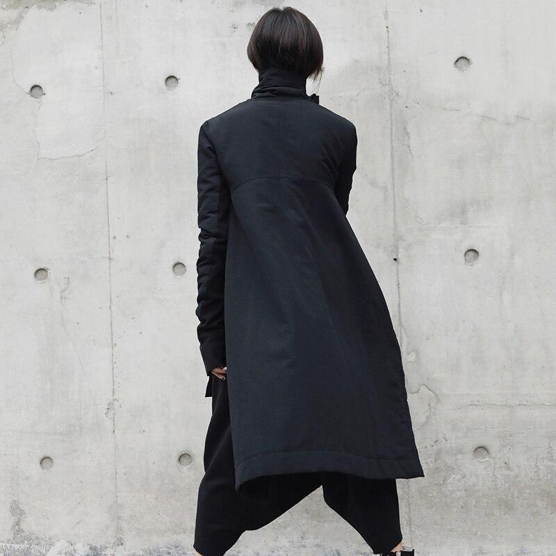 Vers Chicever Jackets Marée Asymétrique Manches Col De Femmes Ourlet Black 2018 Bas Vestes Mode Streetwear Femme Longues Le Roulé À D'hiver Irrégulière B1rqxBHI