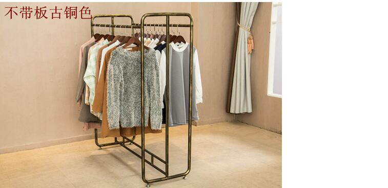 The clothing store has two rows of zhongdao tie yi floor style clothes rack display rack men's and women's clothing store vintag