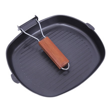 Pans Cast Iron Steak Grill Pans Non-Stick Frying Pan Wooden Handle Folding for Kitchen Fry Cooking Steak Pans Portable Square