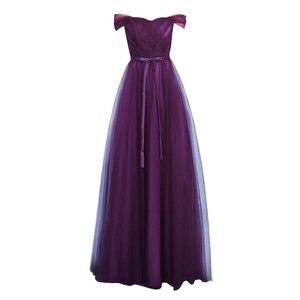 Image 4 - Sexy Purple Floor Length Party Criss cross Tulle Ribbon Women Wedding Elegant Ladies Bridesmaid Dresses Party Dance Dress 9069