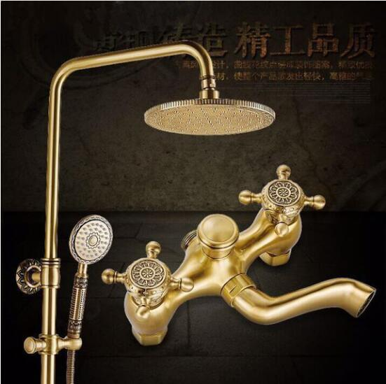 Free Shipping Luxury NEW Antique Brass Rainfall Shower Set Faucet + Tub Mixer Tap + Hand held Shower Bath and shower faucet flg free shipping bamboo antique brass rainfall bamboo shower faucet set bath tub mixer tap single handle shower wall mounted