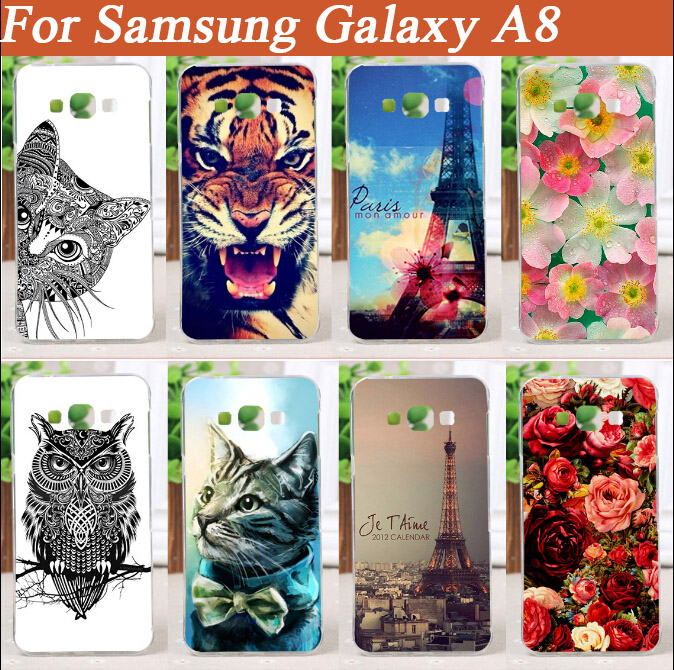 New Arrival painted Pattern case Cat Lion Rose Flower Painting case For <font><b>Samsung</b></font> Galaxy A8 A800 <font><b>A8000</b></font> Case Free Shipping image