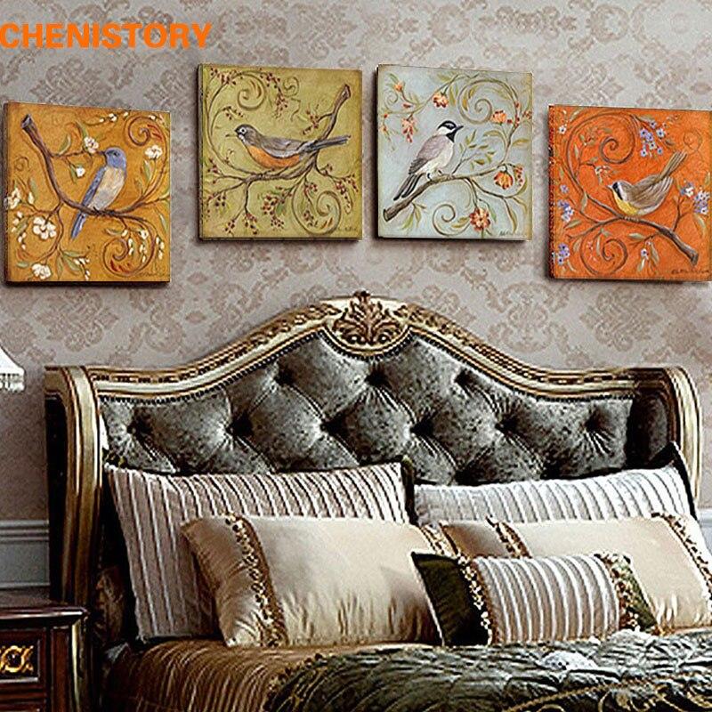Unframed 4 Panel Vintage Birds Retoing Europe Home Decor