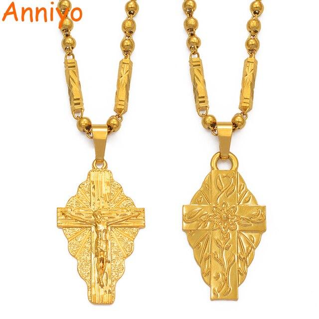 Anniyo Hawaii Flower Gold Color Cross Pendant Ball Beads Chain Necklaces Habesha Micronesia Chuuk Marshall Jewelry #198106P