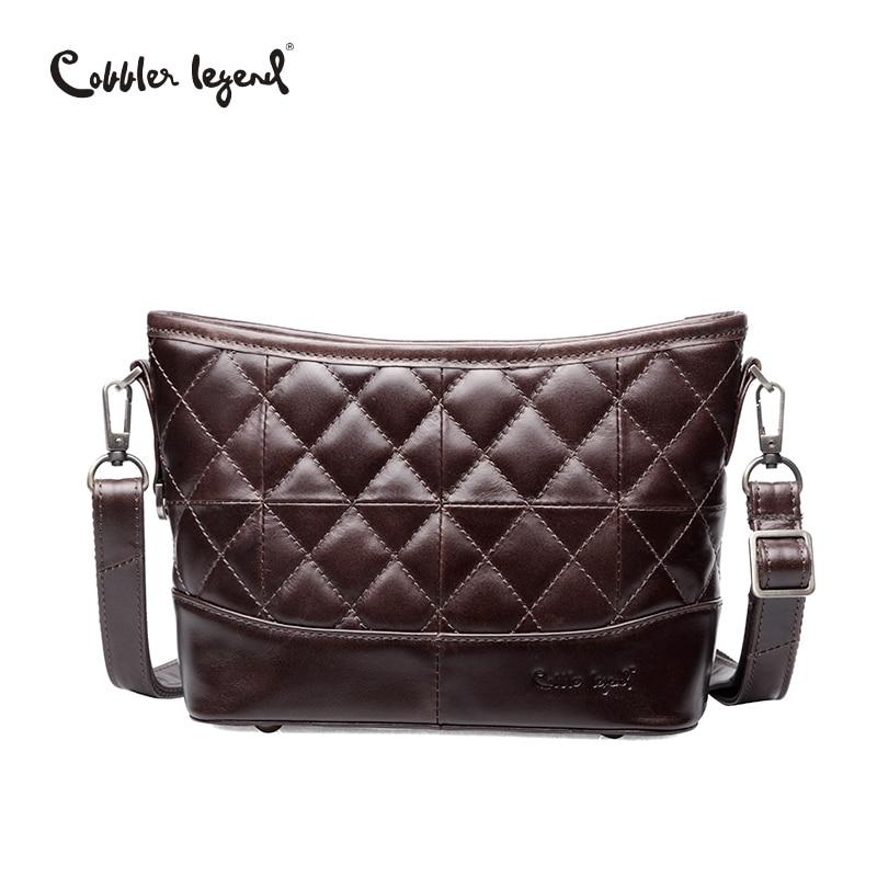 Cobbler Legend Genuine Leather Hobos Bag Women Messenger Plaid Ladies Crossbody Bag Trendy Cowskin Small Shopping