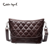 Cobbler Legend Genuine Leather Hobos Bag Women Messenger Plaid Ladies Crossbody Trendy Cowskin Small Shopping Shoulder