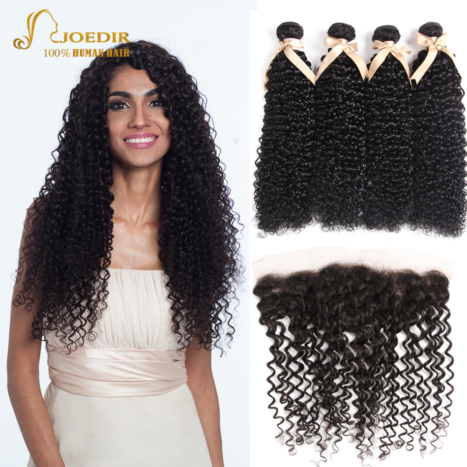 Joedir Indian Curly Hair Weave Bundles with Closure Natural Color Human Hair 3/4 Bundles with Lace Frontal Cheap Hair Extensions