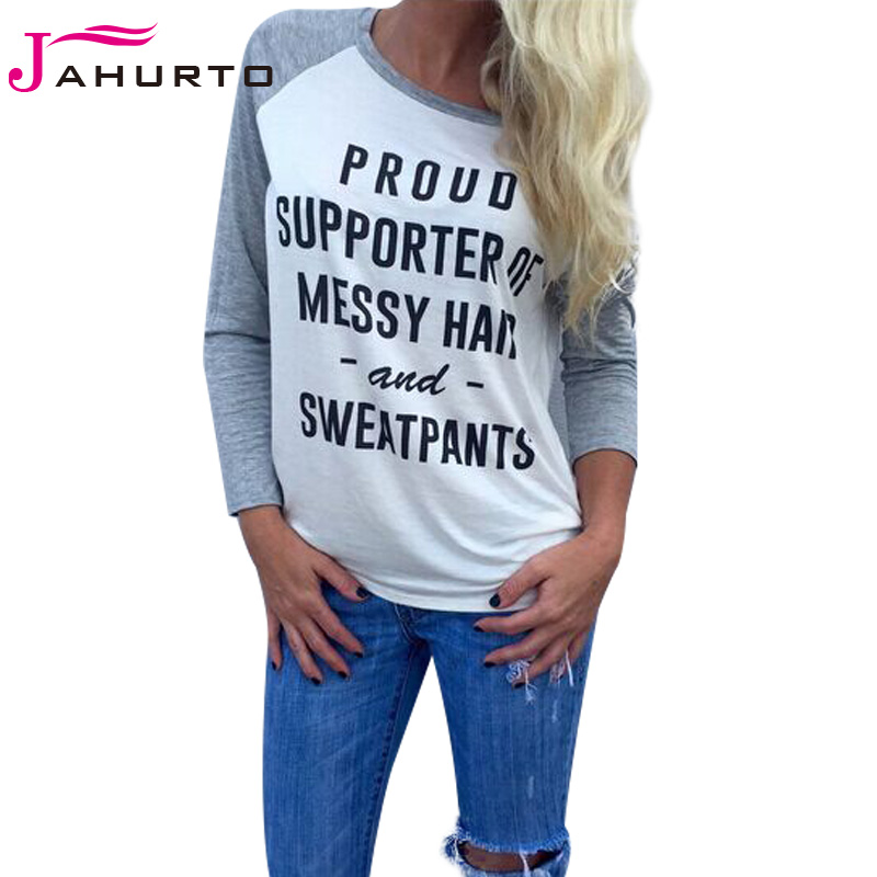 eb530933 Jahurto Pround Supporte Of Messy Han And Sweatpants Printed Women Shirt  Autumn Patchwork Pullover Long Sleeve Female Clothes