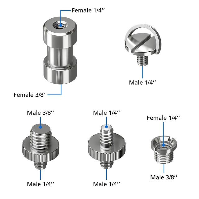 22 Pcs Precision Tripod Screw Adapter Converter Ring Screw Pack 3/8inch 1/4inch male D-ring Screw Aluminum alloy metal screw