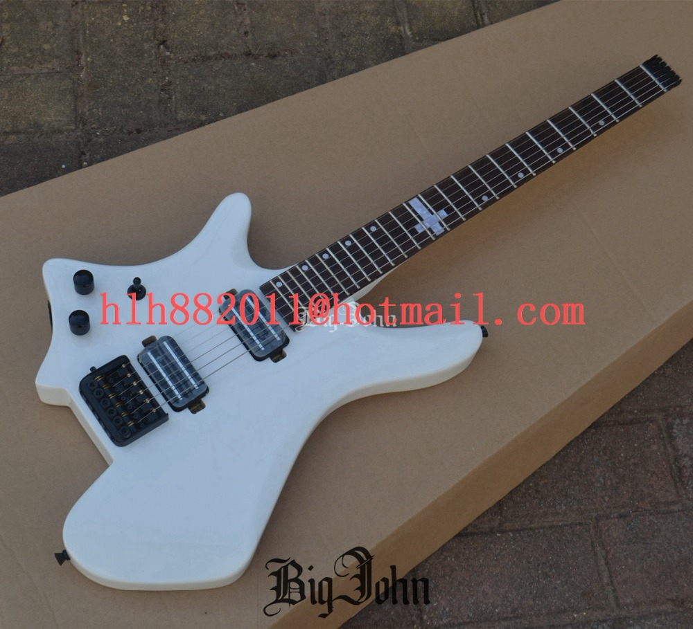 Left Handed Headless Electric Guitar ,Rosewood Fingerboard Mahogany Body White BJ-116