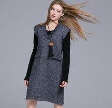 Women's autumn sweater knitted vest dress 2016 new long sleeveless V-neck sweater 69001