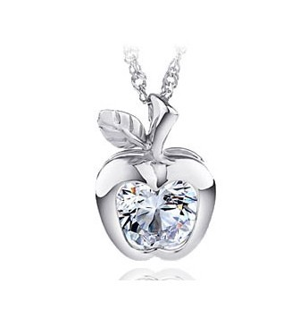 Fashion classic Cute font b Apple b font Necklace silver pendant with chain retail Free shipping