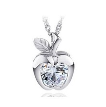 Fashion classic Cute Apple Necklace silver pendant with chain retail Free shipping