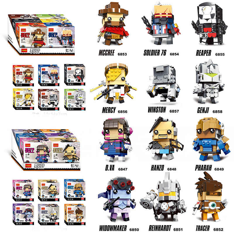 Brickheadz Action Figures D.Va hanzo widwmaker genji pharah tracer mercy winston soldier 76 Building Block Brick Toy