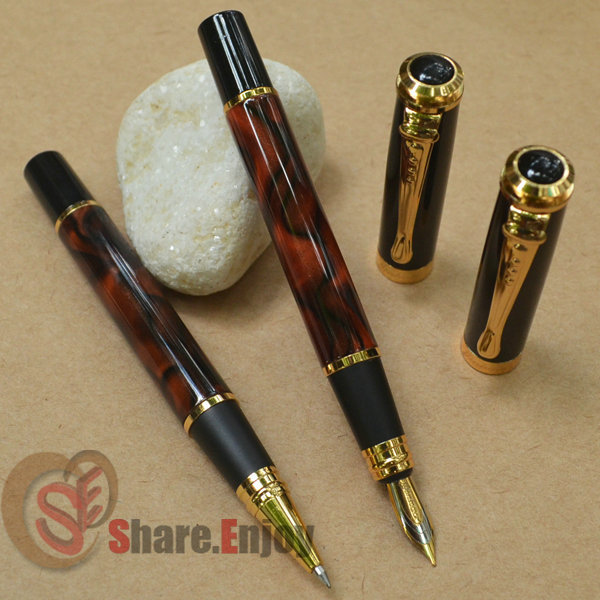 ROLLER BALL PEN AND FOUNTAIN PEN 2 PCS JINHAO 500 WINE MARBLE