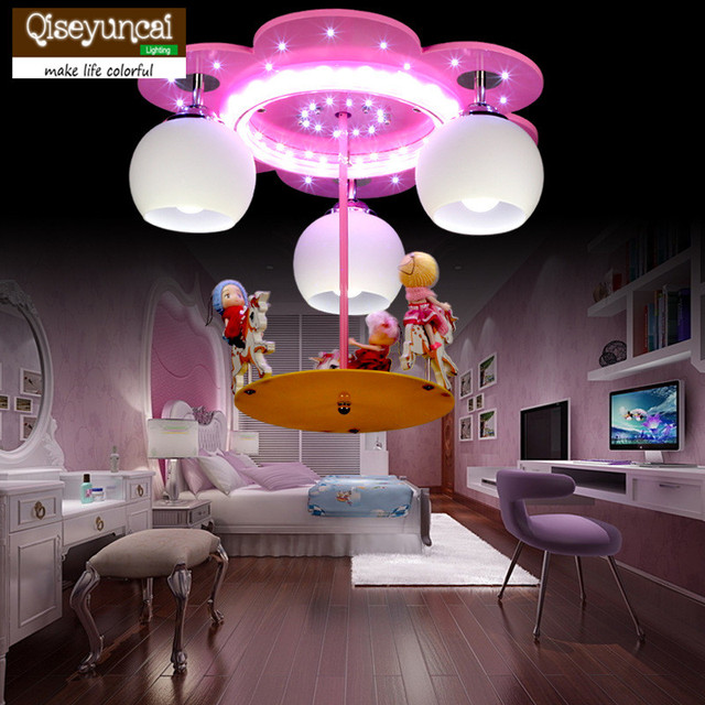 Qiseyuncai 2018 New Children's Room Carousel LED Ceiling Lamp Creative Fashion Cartoon Princess Girl Room Lighting