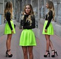 2015 A-line High Collar Long Sleeves Black Green Lace 2 Piece Short Mini Homecoming Dresses Cocktail Dresses