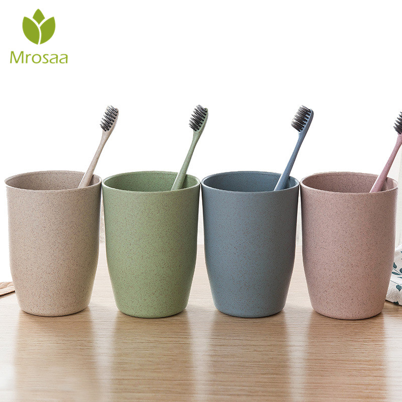 Mrosaa Toothbrush Cup Not Hot Bathroom Sets Toothbrush Comfortable Feel Wheat Straw Drinking Cup Mug Wash Gargle Cup