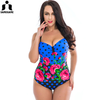 2016 New One Piece Swimsuit Women Retro Vintage Bathing Suits Plus Size Swimwear Beach Padded Print