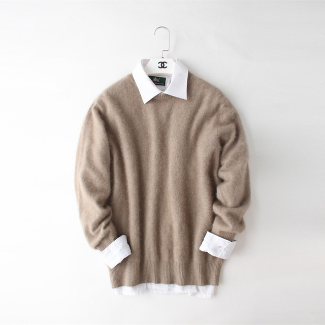 New genuine mink 100% pulôveres de caxemira camisola dos homens suéter de cashmere puro camisola mink frete grátis preço de Atacado