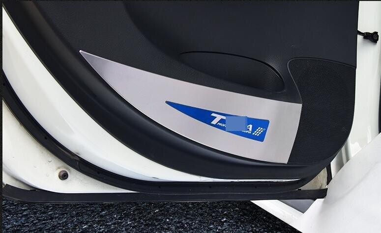 のための新しいティーダ2011 2017ドア抗キックパッドステンレス鋼保護カバードア抗スクラッチインテリア装飾 -