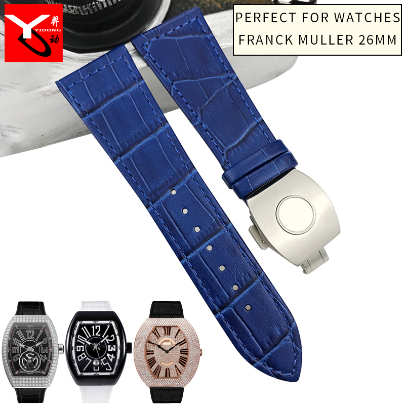 26mm Genuine CowhideSilicone Watch Strap Black Brown White Folding Buckle Watchband Suitable For Franck Muller Series Watch