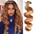 Honey Blonde Brazilian Hair Weave Bundles Color 27# Brazilian Body Wave Human Hair 7A Grade Brazilian Virgin Hair Blonde No Shed