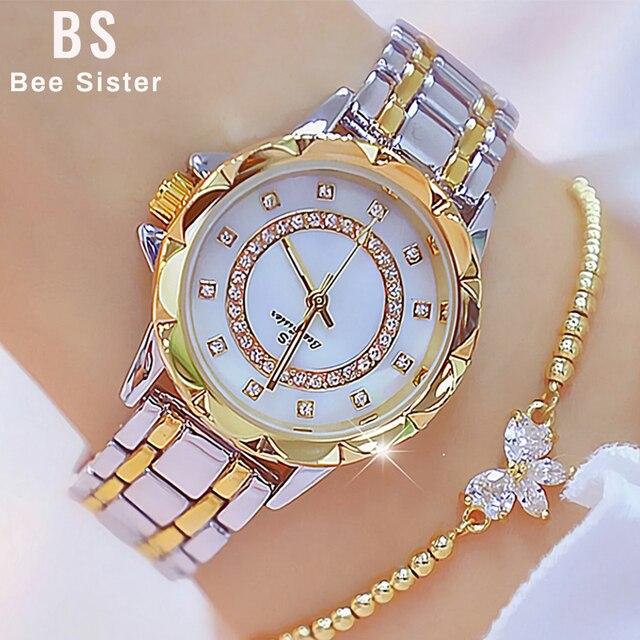 ダイヤモンド女性の高級ブランド腕時計 2019 ラインストーンエレガントな女性の腕時計ゴールド時計腕時計女性レロジオ feminino 2020
