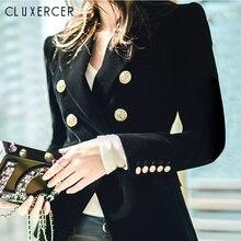 Винтажное бархатное офисное пальто Женский облегающий двубортный