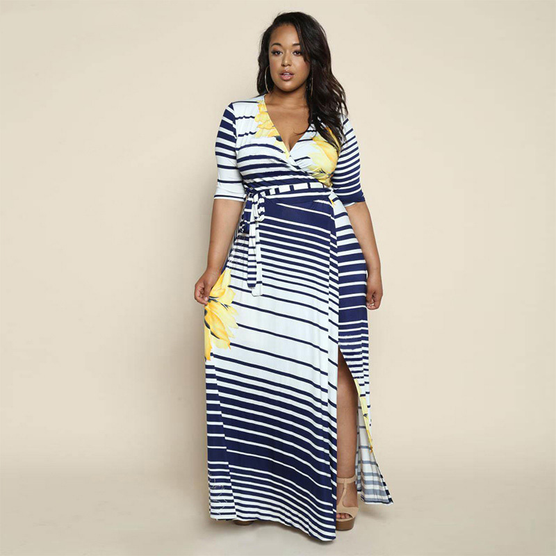 f3fa12982d2a Plus Size 4XL 5XL 6XL 2018 Autumn Striped Sexy Women Party Dress Half Sleeve  Split Floor Length Elegant Casual Long Maxi Dress