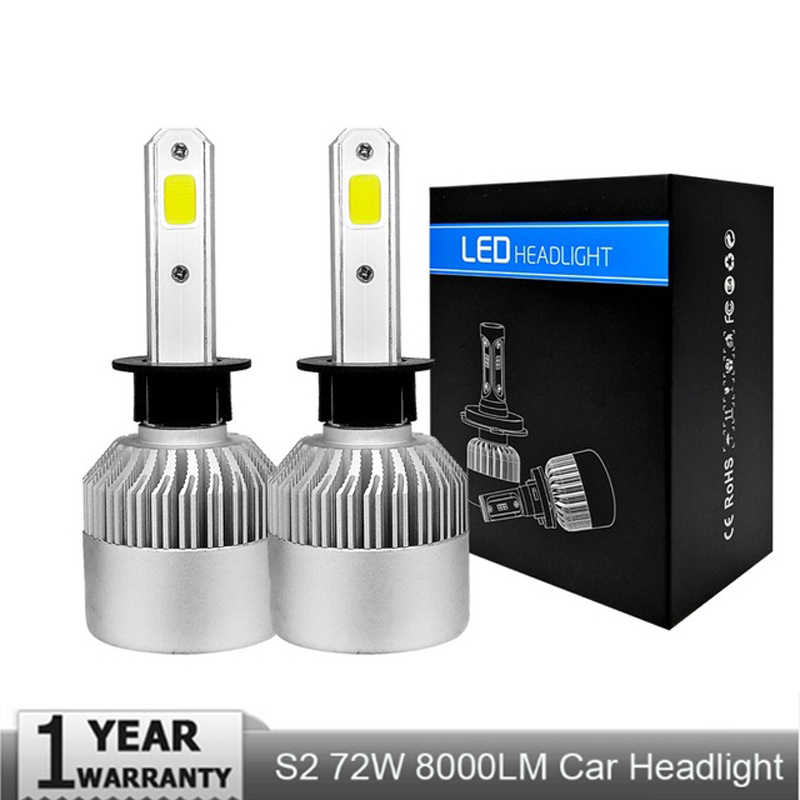 2 PCS 72W 8000LM 6500K H4 H1 H3 Turbo LED Car Headlight H7 H8 H9 H11 H27/880/881 9005 HB3 9006 HB4 9007 Led Fog Light Bulb